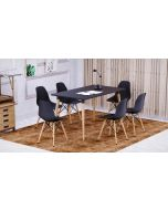 Cenare 7-Piece Dining Set for Kitchen, 140 X 80 Dining Table With 6 X DSW Plastic Dining Chair - Black