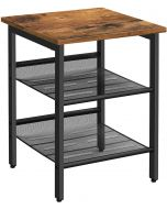Mahmayi LET23X Nightstand with 2 Adjustable Mesh Shelves, Side Table for Living Room End Table -Rustic Brown