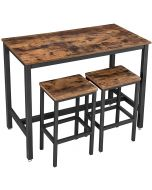 Mahmayi LBT15X Bar Table with 2 Bar Stools - Rustic Brown