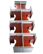 Dela GT20 120 Height Glass 140x120 8 Person Partition Workstation-Panel Concept Apple Cherry