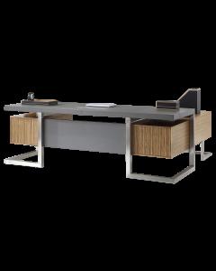 Mahmayi GLW W07 PU Leatherette Modern Office Executive Desk - Dark Walnut & Grey
