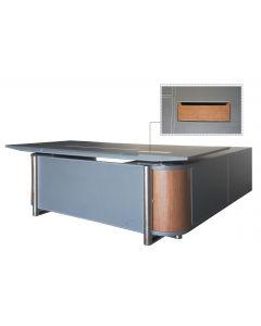 Mahmayi GLW W35 PU Leatherette Modern Office Executive Desk - Dark Walnut & Grey