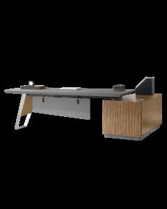 Mahmayi GLW W02 PU Leatherette Modern Office Executive Desk - Dark Walnut & Grey
