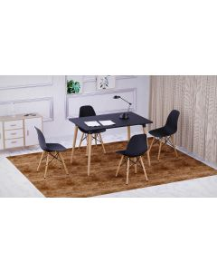 Cenare 5-Piece Dining Set for Kitchen, 120 X 80 Dining Table With 4 X DSW Plastic Dining Chair - Black