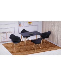 Cenare 5-Piece Dining Set for Kitchen, 120 X 80 Dining Table With 4 X DAW Arm Dining Chair - Black