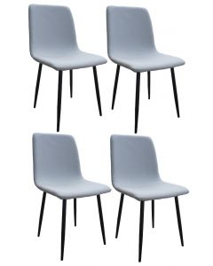 Mahmayi HYDC058 Fabric Cushion Grey Dining Chair for Kitchen, Living Room - Pack of 4