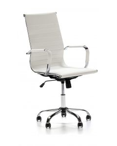 Ultimate 031H Eames Replica Ribbed PU Chrome Highback Chair - White