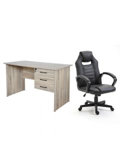 Ultimate Black Racing Style PU Gaming Chair with Solama MP1-1260 Oak Writing Table with Hanging Drawers, Table & Chair Set - Combo