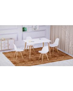 Cenare 5-Piece Dining Set for Kitchen, 120 X 80 Dining Table With 4 X PU Dining Chair - White