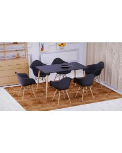Cenare 7-Piece Dining Set for Kitchen, 140 X 80 Dining Table With 6 X DAW Arm Dining Chair - Black
