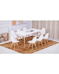 Cenare 9-Piece Dining Set for Kitchen, 160 X 80 Dining Table With 8 X PU Dining Chair - White