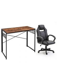 Ultimate Black Racing Style PU Gaming Chair with LWD42X Computer Folding Desk, Writing Desk, Table Chair Set - Combo