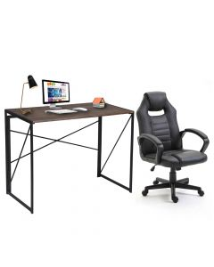Ultimate Black Racing Style PU Gaming Chair with CT-2964 Folding Table Brown, Table Chair Set - Combo