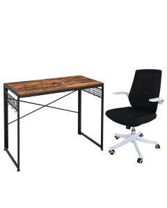 Mahmayi M76-1 Height Adjustable Ergonomic Office Grey Chair with LWD42X Computer Folding Desk, Writing Desk, Table Chair Set - Combo