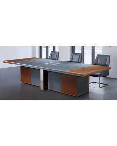 Mahmayi GLW W68-N MDF & PU with Stainless Steel Frame Conference Table - Walnut & Grey