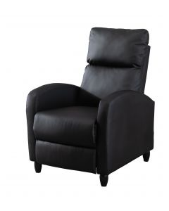 Ultimate Modern Single Recliner Sofa Padded Seat Black with Leatherite PU