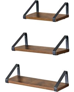 Mahmayi LWS33BX Rustic Brown Wall Mounted Floating Shelves for Living Room, Bathroom, Kitchen - Set of 3