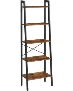 Mahmayi LLS45X Ladder Shelf, Metal Storage Shelves - Rustic Brown