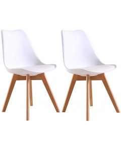 Ultimate Eames Style Retro White Cushion Chair - Pack of 2