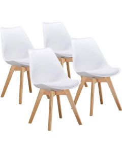 Ultimate Eames Style Retro White Cushion Chair - Pack of 4