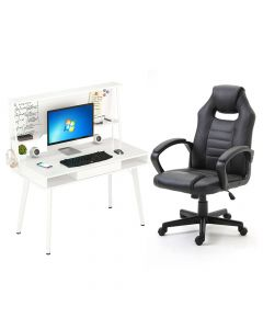 Ultimate Black Racing Style PU Gaming Chair with Ultimate CT 3610 Computer Table, Table Chair Set - Combo