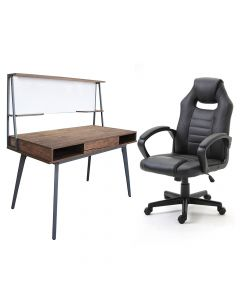 Ultimate Black Racing Style PU Gaming Chair with Ultimate CT 3610 Computer Brown Table, Table Chair Set - Combo
