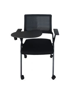 Mahmayi SL 632L Folding Heavy Duty Chair with Wheels & Foldable Arm Tablet for Home | School | Study Chair Can Withstand upto 150kg - Black