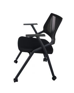 Mahmayi SL 632L Folding Heavy Duty Chair with Wheels for Home | School | Study Chair Can Withstand upto 150kg - Black