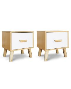 Mahmayi 303-1 Modern Wooden Side Table Storage Unit Beech & White Melamine Pack of 2