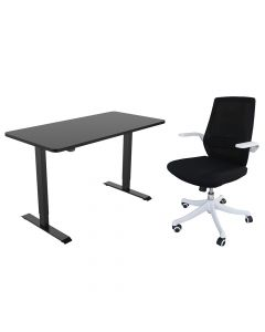 Mahmayi M76-1 Height Adjustable Ergonomic Office Black Chair with ET114E-N 55 x 28 Inches Black Electric Stand Up Desk Workstation, Computer Standing Table Height Adjustable Desk, Table Chair Set - Combo