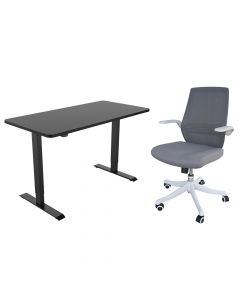 Mahmayi M76-1 Height Adjustable Ergonomic Office Grey Chair with ET114E-N 55 x 28 Inches Black Electric Stand Up Desk Workstation, Computer Standing Table Height Adjustable Desk, Table Chair Set - Combo