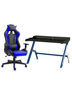 Racer C599 Gaming Chair Blue With PU Leatherette & Seat adjustable height with Ultimate GT 007 Blue & Black Gaming Table, Table Chair Set - Combo