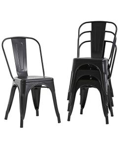 Mahmayi HYX503-1 Metal Stackable Dining Chairs for Indoor, Outdoor & Kitchen Chair - Black (Set of 4)