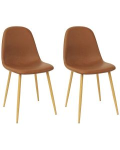 Mahmayi HYDC001 Washable PU Cushion Seat Back Dining Brown Chair - Pack of 2