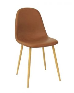 Mahmayi HYDC001 Washable PU Cushion Seat Back Dining Brown Chair