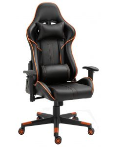 Fury 560 Racing Style PU leather Gaming Chair with Headrest and Lumbar Support - Black