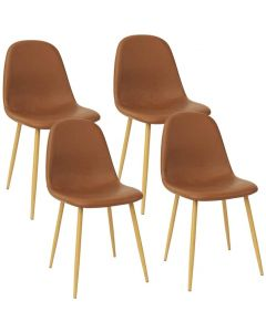 Mahmayi HYDC001 Washable PU Cushion Seat Back Brown Dining Chair - Pack of 4