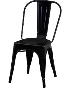 Mahmayi HYX503-1 Metal Stackable Dining Chairs for Indoor, Outdoor & Kitchen Chair - Black