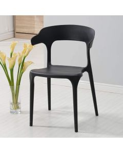 Mahmayi HYPP-04 PP Stackable Horn Dining Chair for Kitchen, Home - Black