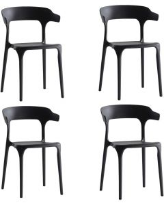 Mahmayi HYPP-04 PP Stackable Horn Dining Chair for Kitchen, Home - Black (Set of 4)