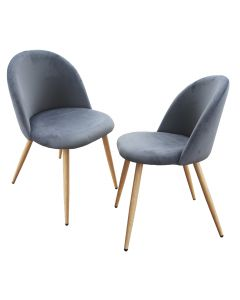 Mahmayi HYDC019 Velvet Grey Dining Chair for Living Room - Pack of 2
