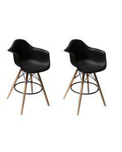 Ultimate Eames Style DAW ArmChair Bar Stool set of 2- Black