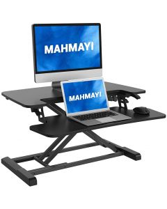 Mahmayi Laptop Stand Up Desk Converter with Deep Keyboard Tray - Black