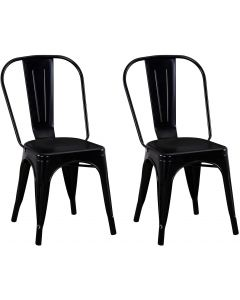 Mahmayi HYX503-1 Metal Stackable Dining Chairs for Indoor, Outdoor & Kitchen Chair - Black (Set of 2)