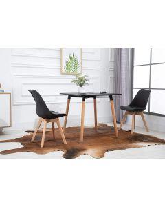 Cenare Dining Set (Dining Table + 2 X Cushion Chair) - Black