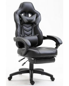 Ultimate Grey Racing Style Gaming Chair with Footrest & PU Leatherette