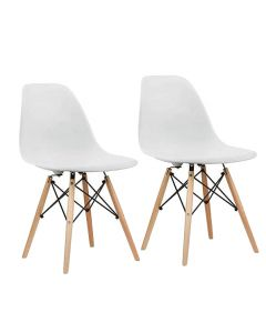 Ultimate Eames Style DSW Plastic Dining Chair - White (Pack of 2)