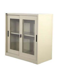 Godrej OEM Low Height Glass Sliding Door Steel Bookshelf Beige
