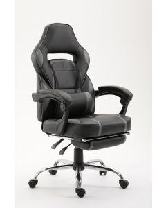 Ultimate C590 Racing Style Gaming Chair Grey with Footrest