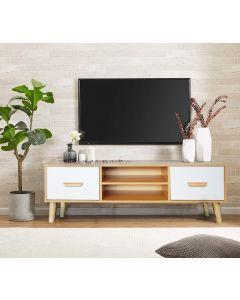 Mahmayi 301 Modern TV Table Stand with Storage Unit - Beech & White